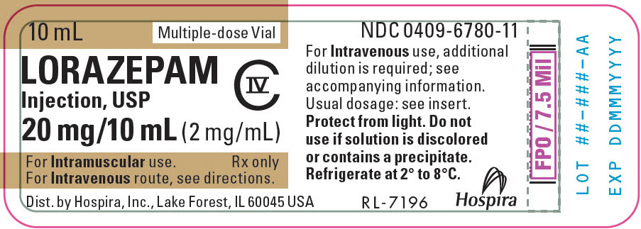 PRINCIPAL DISPLAY PANEL - 2 mg/mL Vial Label - 6780